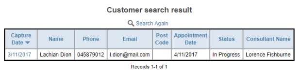 Searched Customer Result
